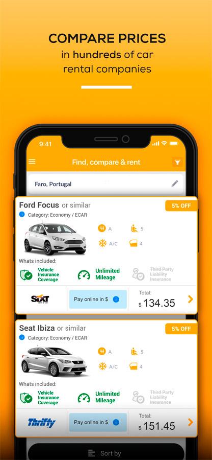 The Rentcars com Car Rental App